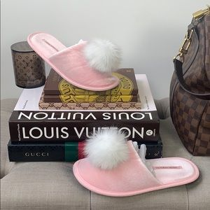 Victoria's Secret White Pom Pom & Pink Slippers
